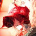 Sonja unter ihrer Wärmelampe